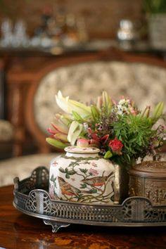 Vintage tray ▇  #Home #Design #Decor  via IrvineHomeBlog - Christina Khandan - Irvine, California ༺ ℭƘ ༻