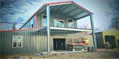 American Barn Style Home Shell Kit 2560 sq ft + porch Metal Building Homes, Metal Homes, Building A House, Building Ideas, School Building, Building Design, Prefab Buildings, Steel Buildings, American Barn