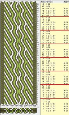28 tarjetas, 3 colores, repite cada 6 movimientos // sed_702 diseñado en GTT༺❁ Inkle Weaving, Inkle Loom, Card Weaving, Tablet Weaving Patterns, Finger Weaving, Willow Weaving, Modern Crafts, Woven Belt, Weaving Projects