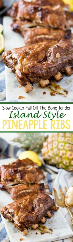 Slow Cooker Island Style Pineapple Ribs (Fall off the bone tender) @KCMBBQ #ad #KCMasterpiece - Eazy Peazy Mealz