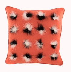 Coral Throw Pillow with Marabou Feathers. Coral is a totally uplifting bold colour further emphasised by the stark contrast of fluffy black and white Marabou feathers, the symmetry of which gives a contemporary rather than a country feel to a room. Coral Throw Pillows, Scatter Cushions, Bold Colors, Feather, Contemporary, Black And White, Flowers, Coral Pillows, Quill