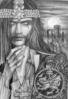 Vlad Tepes national hero of Romania pictured with the Insignia of the Order of the Dragon. Vlad El Empalador, Order Of The Dragon, Daffodil Tattoo, Vlad The Impaler, Bram Stoker's Dracula, Beautiful Dark Art, Vampire Art, Mythological Creatures, Fantastic Art