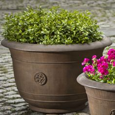 Campania International, Inc Round Pot Planter Size: Large, Finish: Copper Bronze