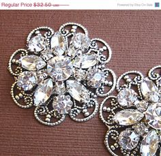 """Enter Coupon code: PinFall to receive 10% off on any order! https://www.etsy.com/shop/MissJoansBridal Rhinestone Flower Shoe Clips, Wedding Accessories,""""Crystal Bouquet"""" Christmas, Formal, Party, Holiday Jewelry. $29.25, via Etsy."""