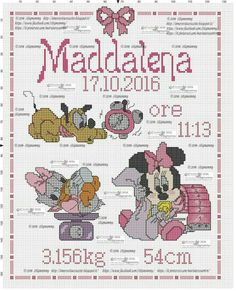 quadro maternidade menina ponto cruz Cross Stitch Letters, Cross Stitch For Kids, Cross Stitch Bookmarks, Cross Stitch Baby, Cross Stitch Samplers, Cross Stitch Charts, Cross Stitching, Disney Cross Stitch Patterns, Cross Stitch Designs