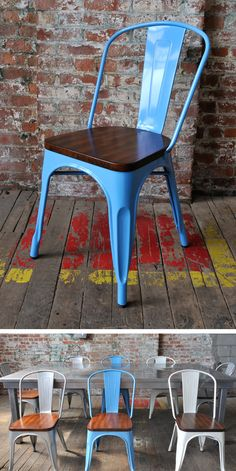 """Bastille"" galvanized steel industrial dining chair w/ lacquered wood seat - available in blue, silver and white - only at Inmod"
