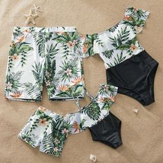 One Piece Plant Printed Family Matching Swimsuit - Swimsuits - Ideas of Swimsuits Baby Bikini, Baby Swimsuit, Bikini Swimsuit, Summer Bathing Suits, Girls Bathing Suits, Mode Du Bikini, Mommy And Me Dresses, Cute Swimsuits, Matching Family Outfits