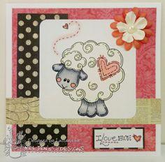 Cartão artesanal com carimbo Meljen's Designs.