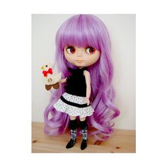 Light Purple Elegant Curly Long Hair Wig for Blythe Dolls ($16) found on Polyvore