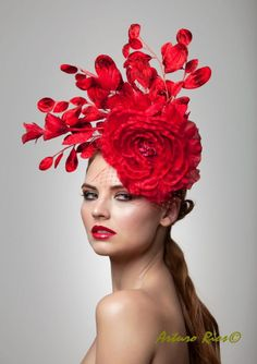 Red fascinator cocktail hat