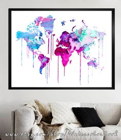 Blue Purple WATERCOLOR MAP World Map Watercolor by WatercolorBook