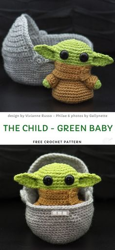 The Child - Green Baby Free Crochet Pattern , Movie Character Amigurumi - Crochet Ideas. Look at this cutie, he even has a sweet, little crochet crib you can put him into! It will make a great gif. Crochet Gratis, Crochet Patterns Amigurumi, Cute Crochet, Crochet For Kids, Crochet Dolls, Kawaii Crochet, Star Wars Crochet, Crochet Stars, Crochet Flowers