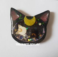7d4006e47812 Resin shaker Sailor Moon s Luna and Arthemis Diana theme glitter diamonds  cat head moon keyring bag charm planner decoden cute kawaii bell
