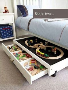 cool under the bed storage trundle with drawer underneath and play area on top- would want this for legos!