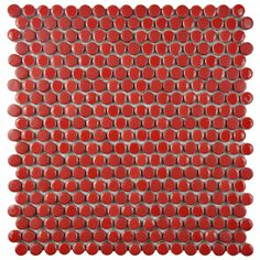 SomerTile 12x12-inch Asteroid Penny Round Red Porcelain Mosaic Floor and Wall Tile (Case of 10) - Overstock Shopping - Big Discounts on Somertile Floor Tiles