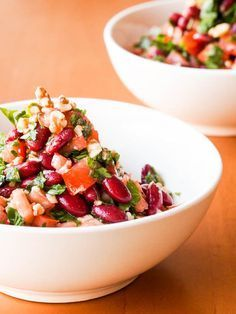 Vegan Tomato, Kidney Bean and Parsley Salad with Walnuts {Gluten-Free}