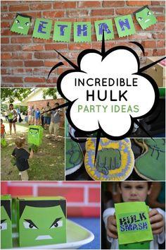 Incredible Hulk Themed Superhero Birthday Party - Spaceships and Laser Beams Hulk Birthday Parties, Superhero Birthday Party, Boy Birthday, Birthday Ideas, Theme Parties, Incredible Hulk Party, Avengers Birthday, Hulk Superhero, The Incredibles