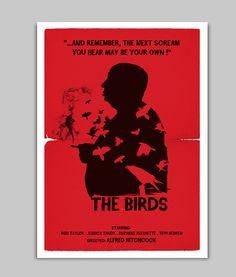 Alternative the birds movie poster. #etsy #alfred hitchcock #hitchcockposter #movieposter #posterfilm #wallart #walldecor #horrorfilm