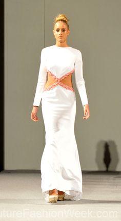 Diani Mota Couture Fashion Week New York Spring 2013 Collection #FashionWeek #Fashion #Couture #AndresAquino #Style #Women #Designer #Model #Dress #White #Sequence #Long #Elegant