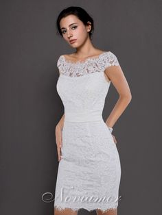 Romantic Lace Floral Cap Sleeves Short/Knee Length Bridal Dress NW1051