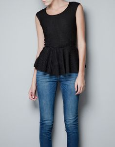 T-SHIRT WITH FRILL AROUND THE WAIST - T-shirts - Woman - ZARA $39.90