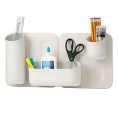 Keep it simple organizing for your desk.  Pens, rulers and looks really good.  MODULAR WALL ORGANIZER | Desktop Organizers | UncommonGoods