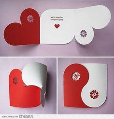Valentine& card making red white ideas gifts decoration- Valentinskarte Basteln rot weiß-Ideen Geschenke-Deko Valentine& card making red white ideas gifts decoration - Valentine Crafts, Valentine Day Cards, Homemade Valentines Day Cards, Funny Valentine, Diy Paper, Paper Crafts, Heart Cards, Diy Cards, Homemade Cards
