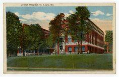 "Handcolored postcard of the first Jewish Hospital of St. Louis building, 1918. ""Bernard Becker Medical Library, Washington University School of Medicine"""