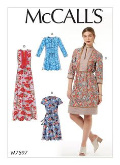 M7597 or M0545 Loose fitting pullover tunic and dress have front bib with gathers, back yoke, sleeve and length variations. C: Contrast neckband, bib, yoke and bands. D: Contrast bib.Summer 2017
