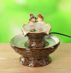 small fountain pots | birdbath fountain w birds this beautiful ceramic water fountain ... Ceramic Bird Bath, Bird Bath Fountain, Small Fountains, Spring Decorations, Senior Project, Serving Bowls, Decorative Bowls, Pots, Spa