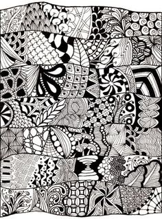 Zentangles are basically all the different ways to doodle on your notebook at school put together to create a super cool piece of artwork! :)