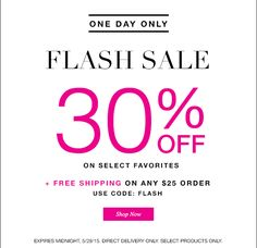 TODAY ONLY! Avon One Day Free Shipping on ANY $25 order + 30% Discount on select products. See the deal at http://www.beautywithmary.com/2015/05/avon-one-day-free-shipping-and-discount.html