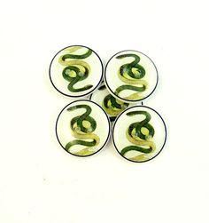 Green Snake Sewing Buttons  5 Handmade Buttons by onthedarkerside