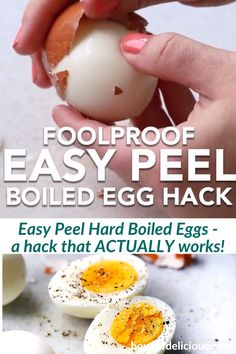 This is the BEST egg hack for perfect hard boiled eggs EVERY SINGLE TIME! Add oil to the water- The eggshell just slides right off every time! Easy Peel Boiled Eggs, Baked Hard Boiled Eggs, Peeling Boiled Eggs, Hard Boiled Egg Recipes, Cooking Hard Boiled Eggs, Soft Boiled Eggs, Easy To Peel Eggs, Peeling Eggs Easy, Peel An Egg