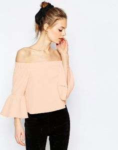 peach off the shoulder top