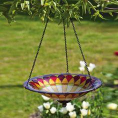 Tiffany Inspired Hanging Petal Glass Bird Bath