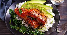 Σολομός με σάλτσα τεριγιάκι και ρύζι | Συνταγή | Argiro.gr Marinated Salmon, Teriyaki Salmon, Salmon Recipes, Fish Recipes, Hoisin Sauce, Salmon Fillets, Healthy Eating Tips, Asian, Stop Eating