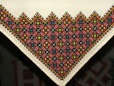 ALL, THAT IS HUNGARIAN - Homespun and cross stitch embroidery of Bereg in the Provincial House of Tákos Hungarian Embroidery, Chain Stitch, Cross Stitch Embroidery, Embroidery Designs, Bohemian Rug, Minden, Hungary, Folk Art, Ornament