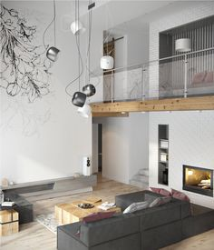 Fresh contemporary living space with minimalist tones in Ukraine Living Room Modern, Living Room Interior, Home Interior Design, Home And Living, Living Spaces, Kitchen Interior, Living Rooms, Minimalist Apartment, Minimalist Interior