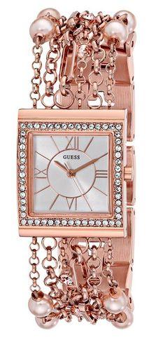 GUESS Women's U0140L3 Pearl Embellished Rose Gold-Tone Bracelet Watch