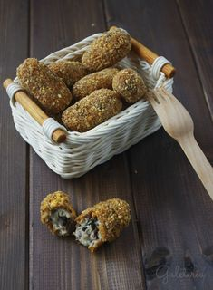 Galeteria recetas: Croquetas de berenjena con rebozado de kikos
