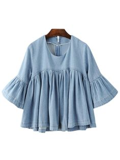 Love this adorable Blue Bell Sleeve Ruffle Denim Doll Blouse, perfect with a pair of shorts for picnicking - get even more style and shopping inspiration on http://jojotastic.com/shop-my-favorites/