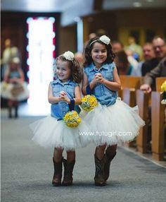 Ivory Tutus with Cowboy Boots | Flower Girl Tutu www.tutugirl.com