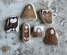 Brown Beach Pottery Collection of Six - Three Kuan Yin, Two Owls and one Jizo. via Etsy.