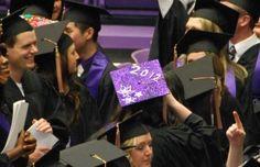Graduation Cap decorations! Graduation Cap Decoration, Graduation Caps, Graduation Ideas, Cap Decorations, Purple Glitter, College Life, Nursing, Art Projects, University