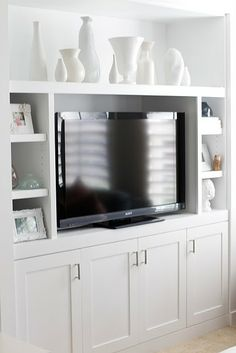 Milk glass built in media center, tv built in, built in entertainment center , Built In Media Center, Tv Built In, Built In Entertainment Center, Entertainment Room, Tv Center, Living Room Storage, My Living Room, Home And Living, Living Spaces