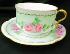 ANTIQUE-BAVARIA-JAEGER-Co-GOLD-Twist-HANDLE-Louise-TEA-CUP-AND-SAUCER