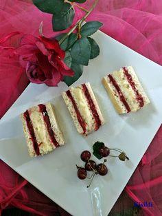 Kisildi: MEGGYES-KRÉMES SZALAKÁLIS SZELET Sweet Cookies, Cherry Tart, Cake Bars, Wedding Desserts, Pinterest Recipes, No Bake Cake, Breakfast Recipes, Cheesecake, Good Food