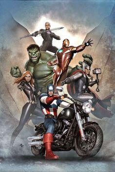 Harley Davidson commissioned Avengers cover by Adi Granov