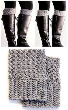 Crochet Projects Design easy reversible crochet boot cuffs (free pattern) - Get the cute chunky sock look, without having the bulk in your boots. Free pattern for easy reversible crochet boot cuffs. Mode Crochet, Crochet Gratis, Crochet Boots, Crochet Slippers, Knit Or Crochet, Crochet Clothes, Quick Crochet, Easy Things To Crochet, Crochet Boot Cuff Pattern